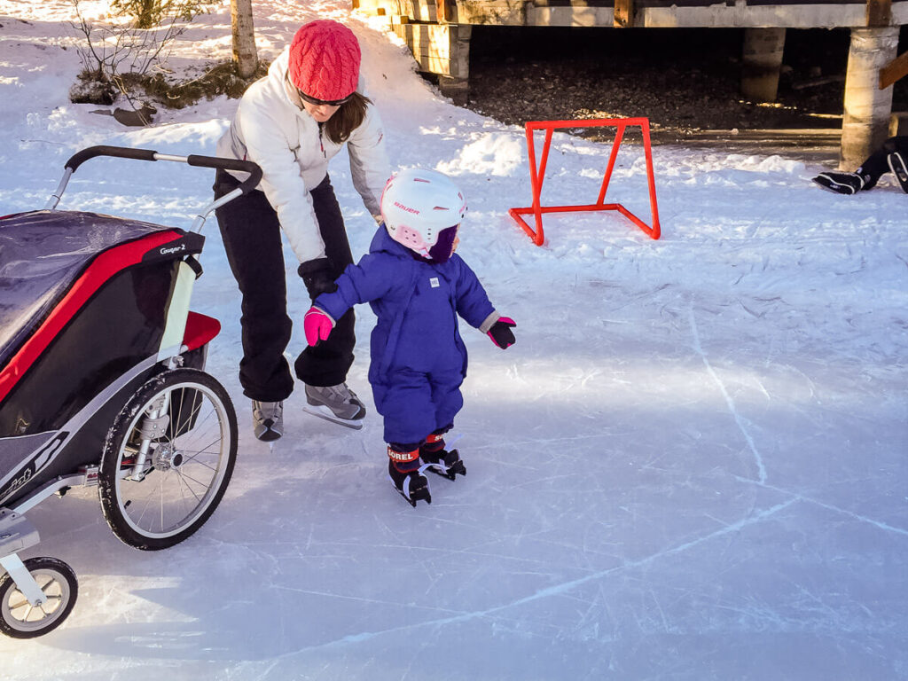skating with baby in stroller