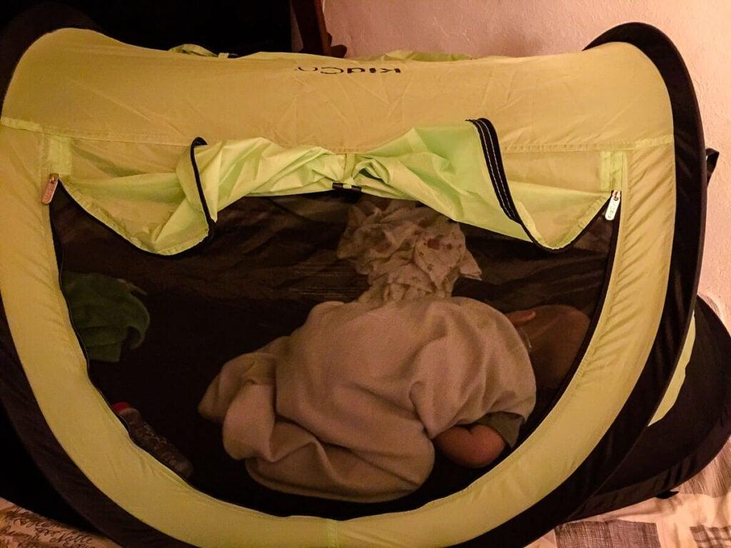 Toddler sleeping in KidCo PeaPod Plus tent