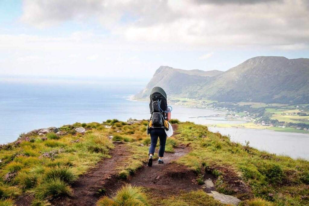 Using backpack carrier for toddler for hiking in Alesund Norway