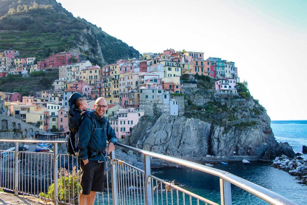 Using backpack carrier for toddlers in Cinque Terre