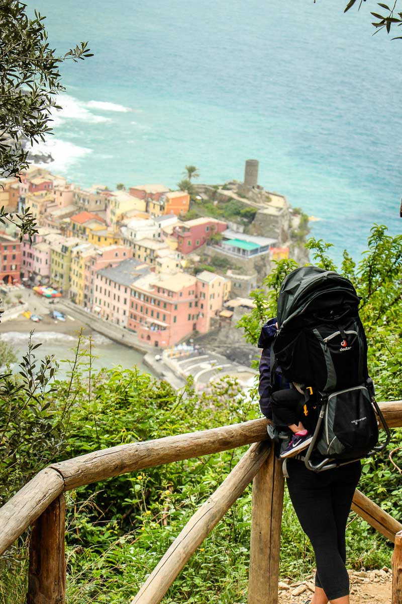 hiking in Cinque Terre Italy with a baby or toddler