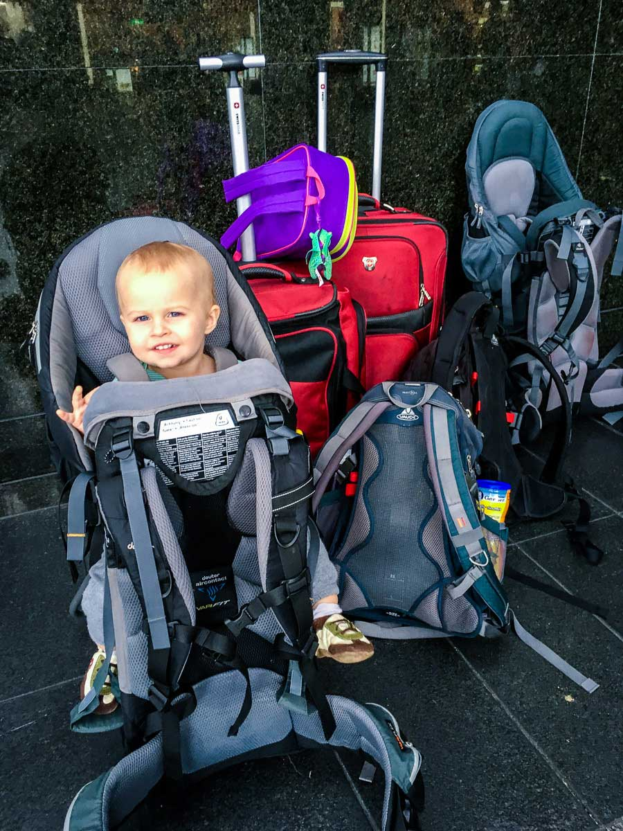 toddler in hiking backpack carrier
