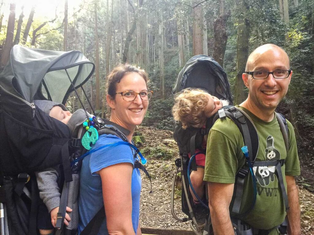 hiking with a baby in backpack carrier in Kyoto