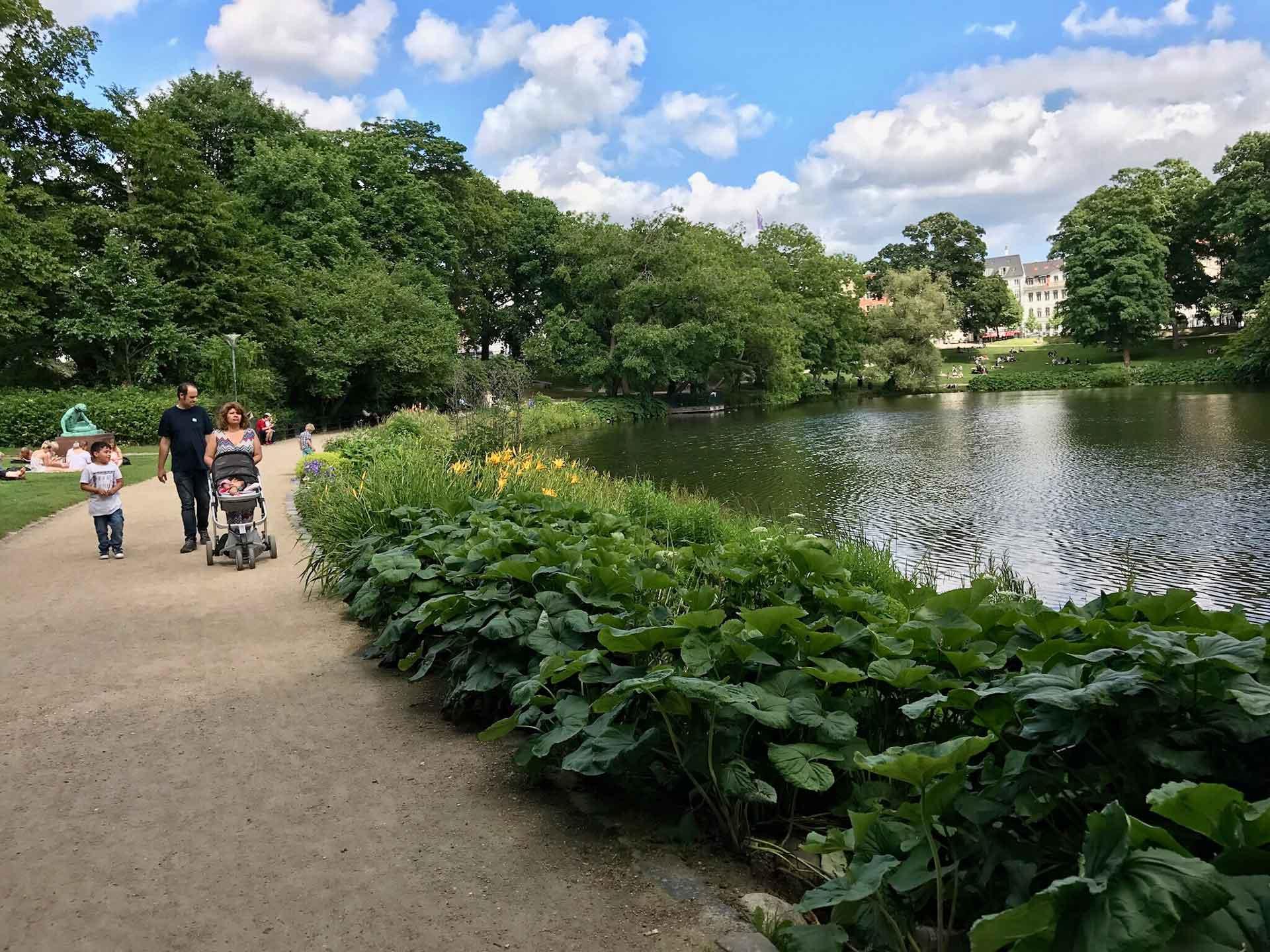 Ørstedsparken Copenhagen with a stroller