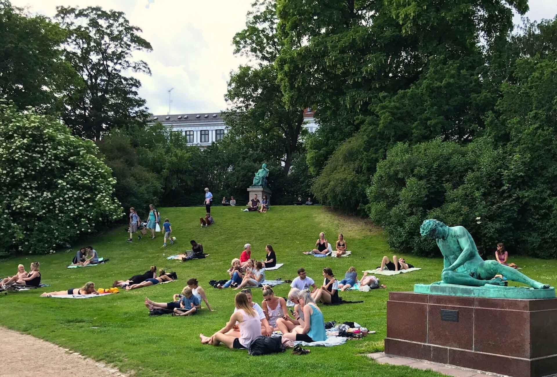 Ørstedsparken Copenhagen with a baby