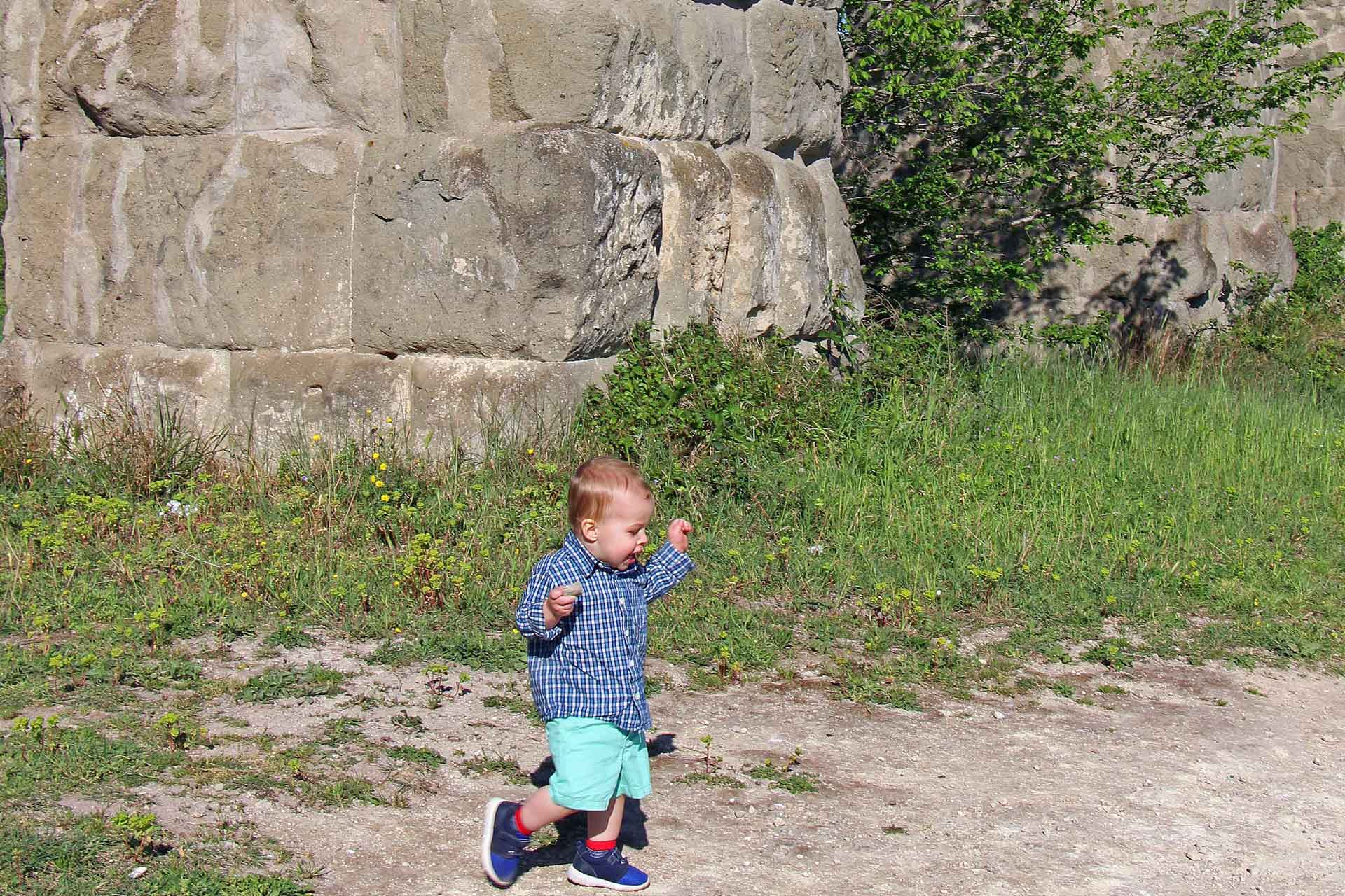 Aqueduct Park in Rome with toddler