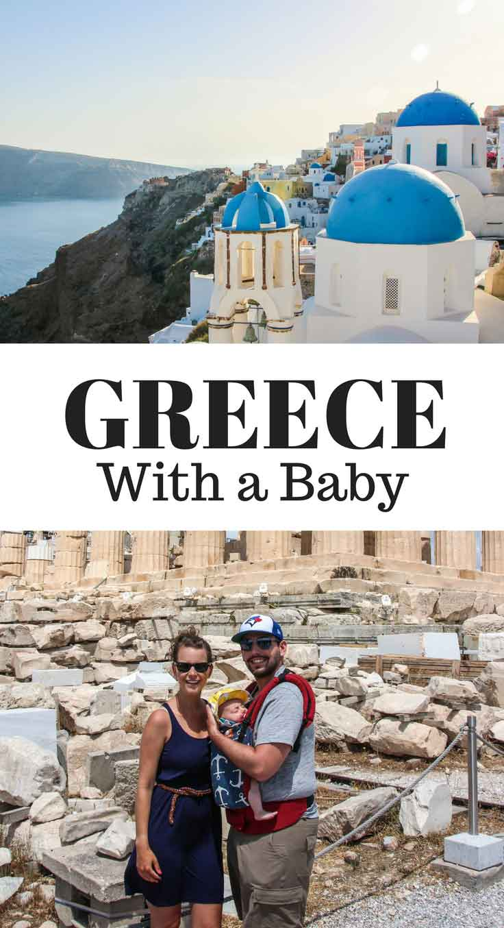 Travelling to Greece with a baby. This guide covers everything you need to know for taking your baby to Greece. It includes info on Santorini, Mykonos, Athens, Naxos, Delphi and Meteora! Read more at www.BabyCanTravel.com/blog #babytravel #toddlertravel #familytravel #greece