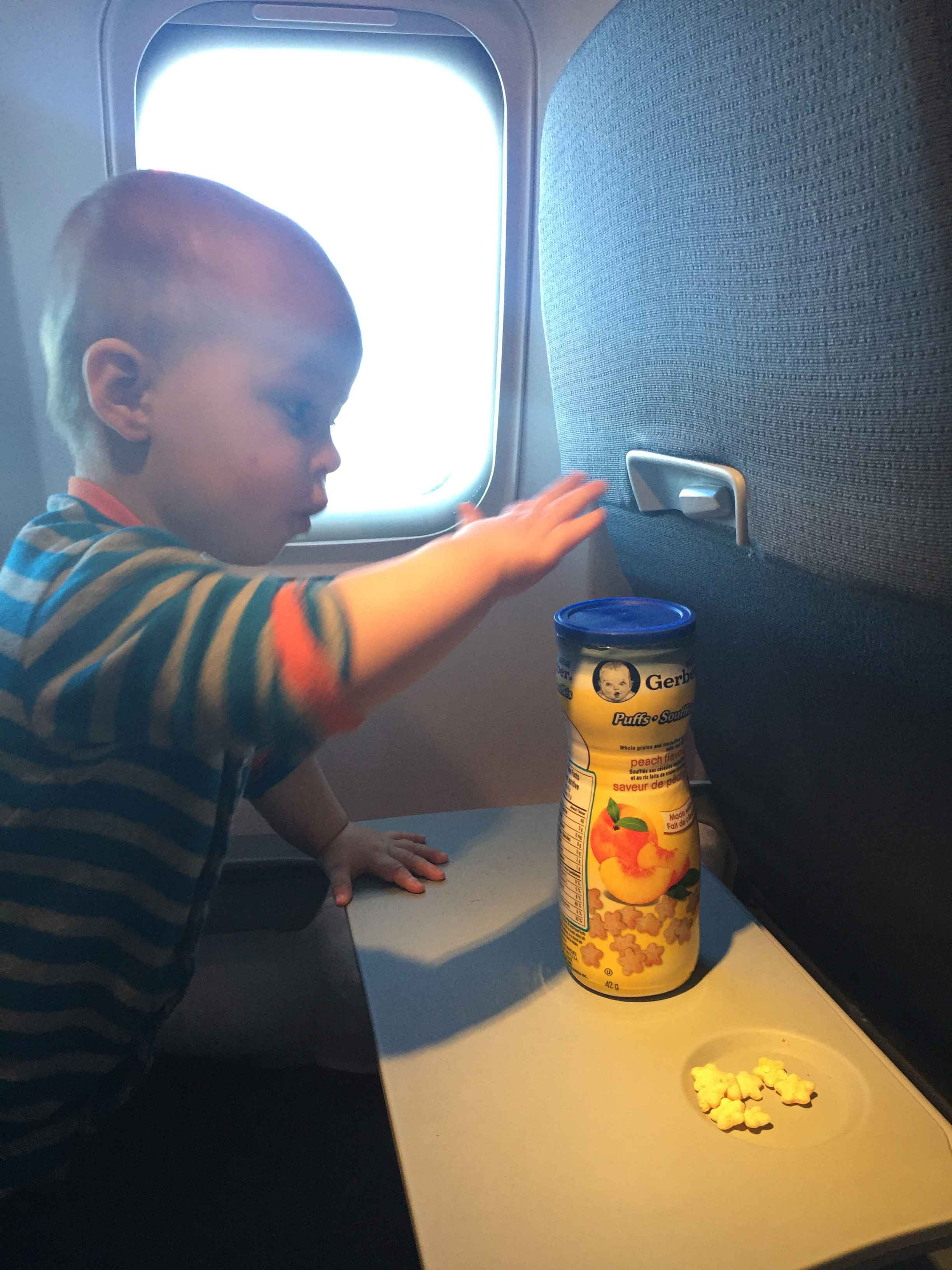 Snacks for a baby on a plane