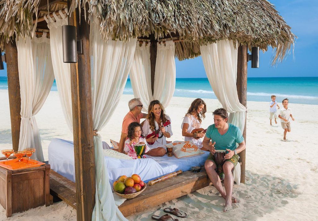 Family time at a beach-front cabana