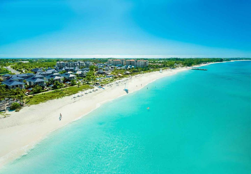 Arial picture of the long stretch of white sand beach at Beaches Turks and Caicos