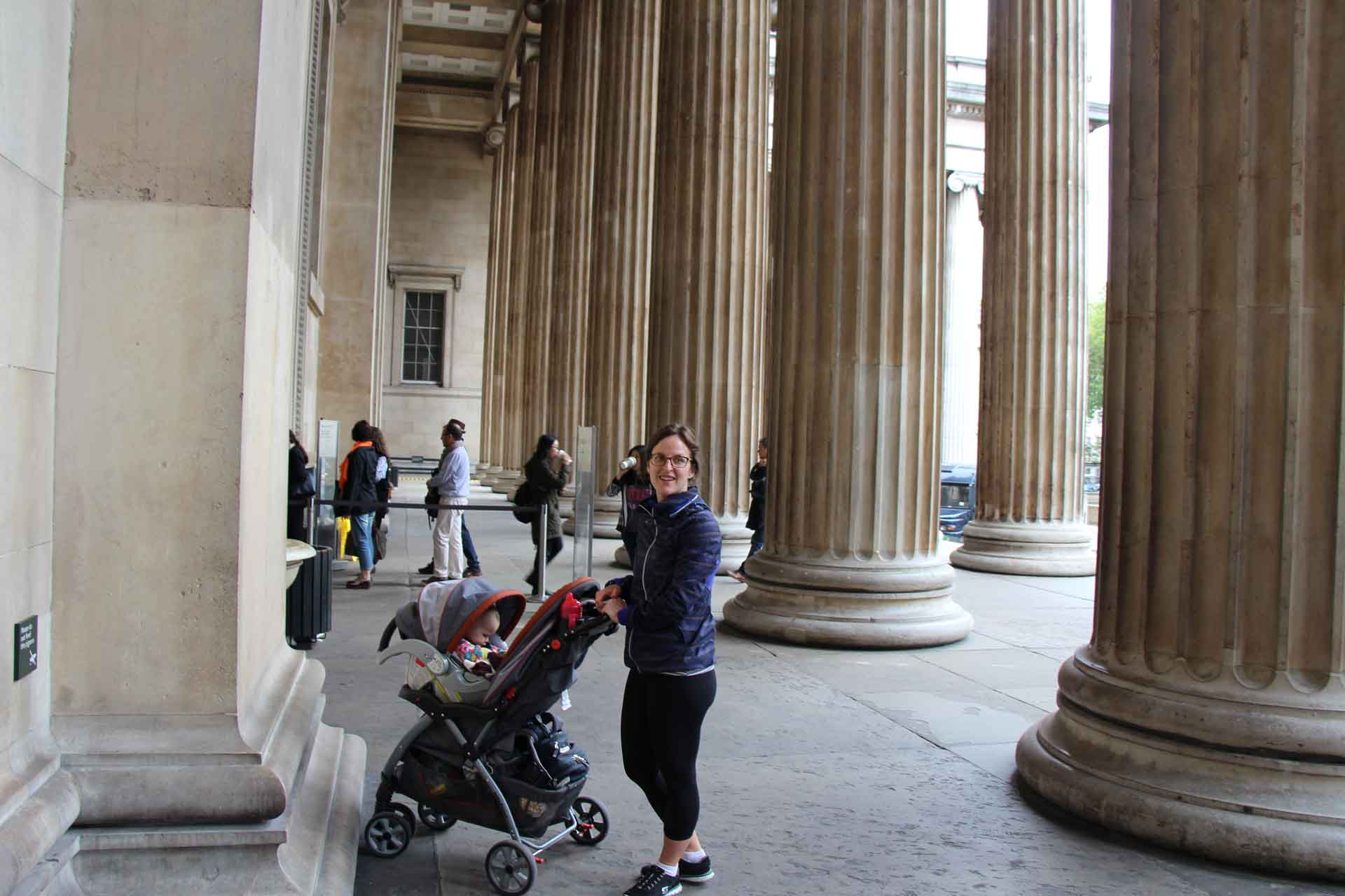 British Museum in London with a baby