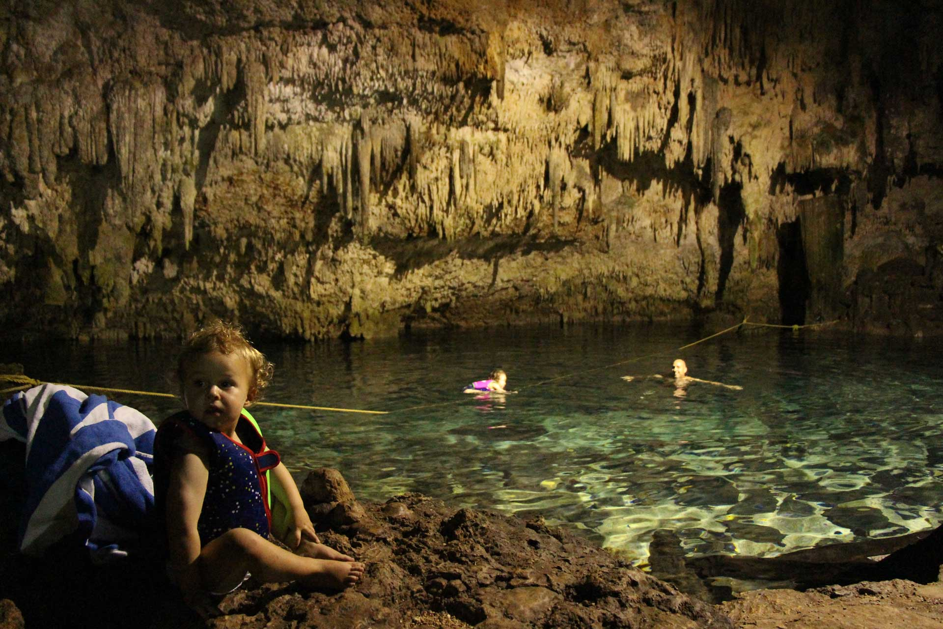 Choo Ha Cenote with a toddler