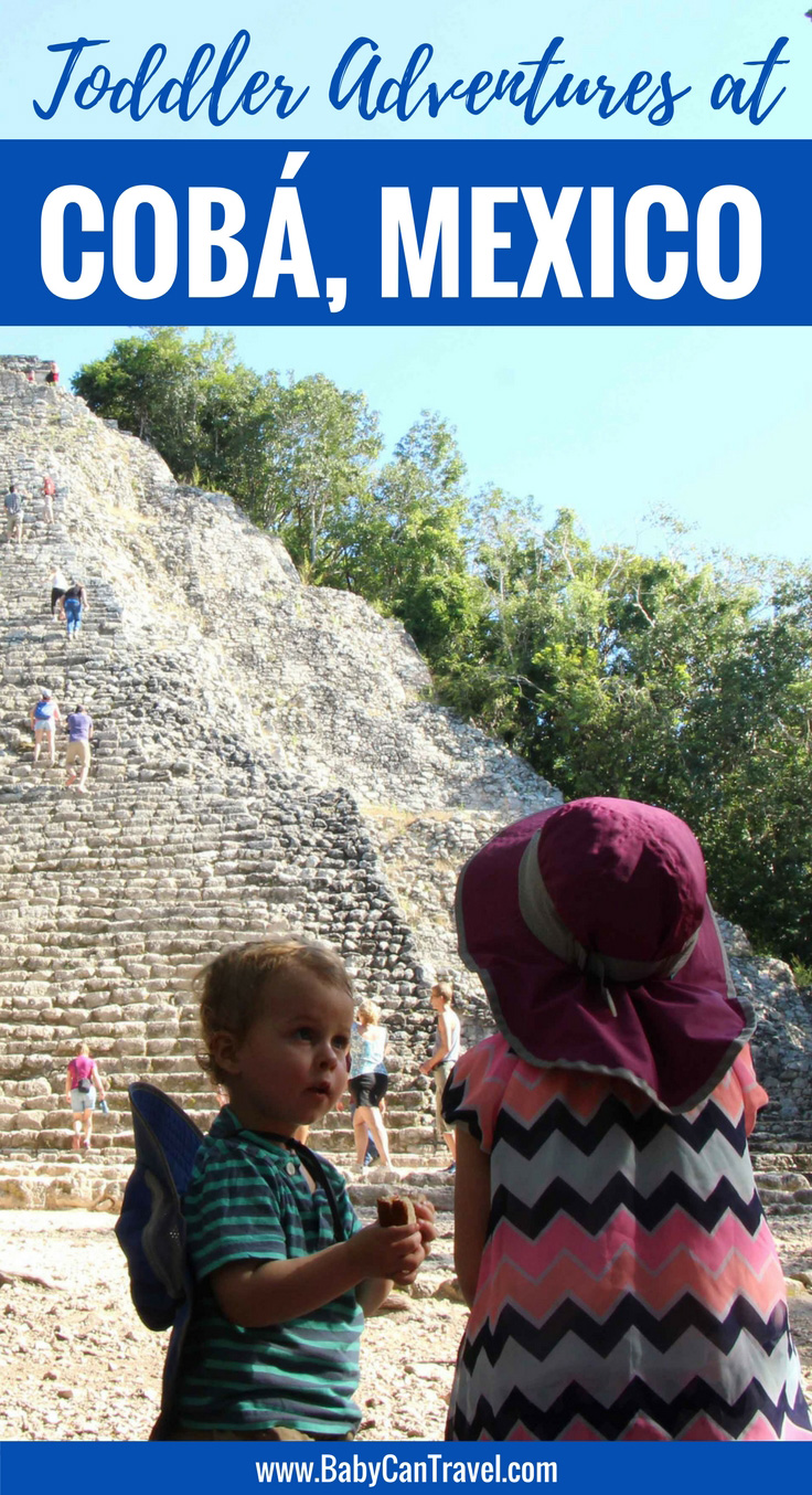 Planning to explore the ancient Mayan ruins of Coba, Mexico? If you are visiting with small children, read this first! #toddlertravel #travelwithbaby #familytravel #travelwithbaby #toddler #toddlertravel #mayanriviera #cobaruins #mexico
