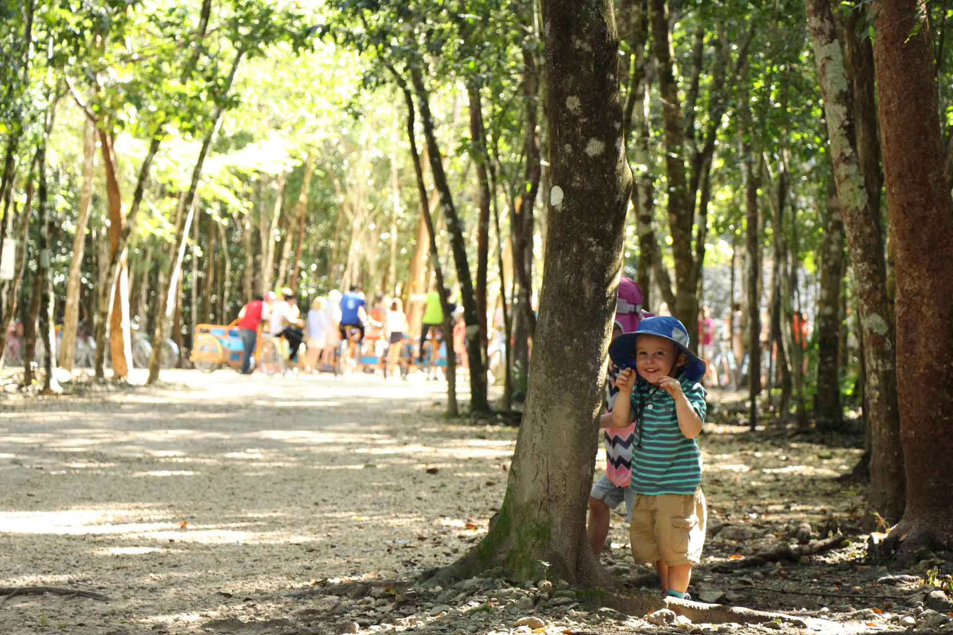 Walking to Coba Ruins in Mexico with a toddler