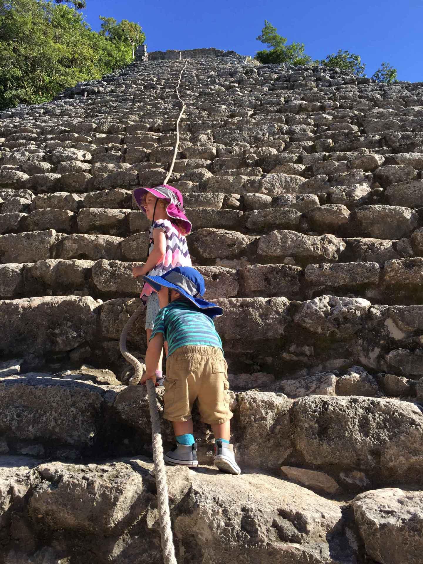 Climbing Coba Ruins in Mexico