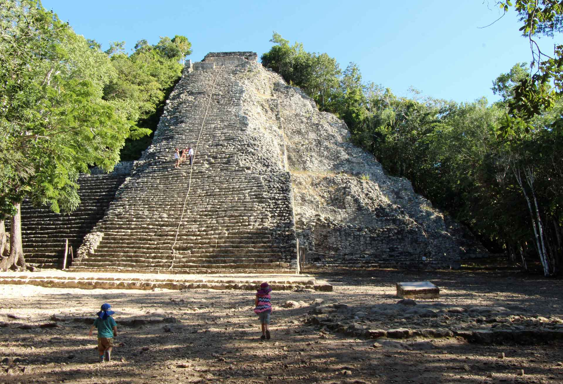 Visiting Coba Ruins with children