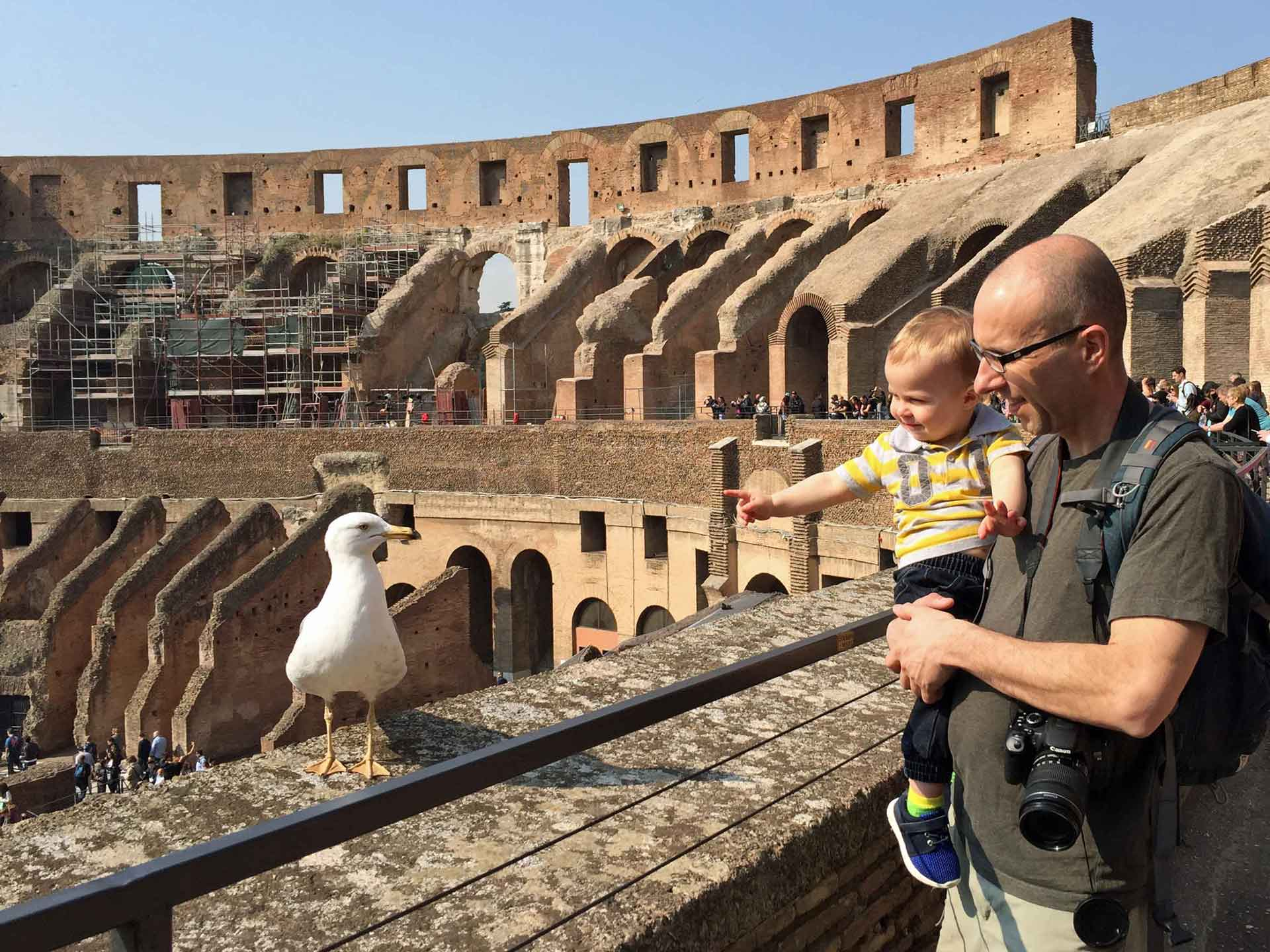 Colosseum in Rome Italy with baby