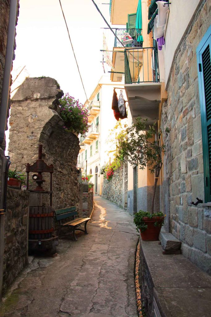 When visiting Cinque Terre with a baby or toddler, try to get an early start. The streets are so beautiful in the morning before the crowds arrive