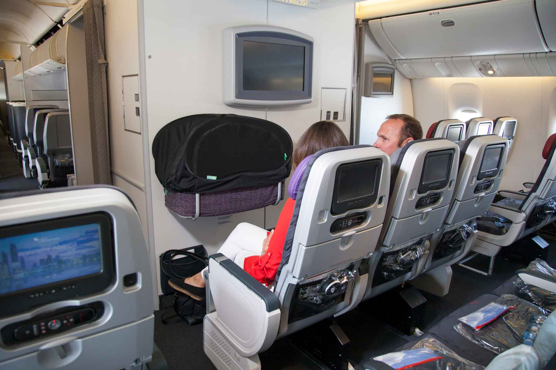 CoziGo in use over an airplane bassinet