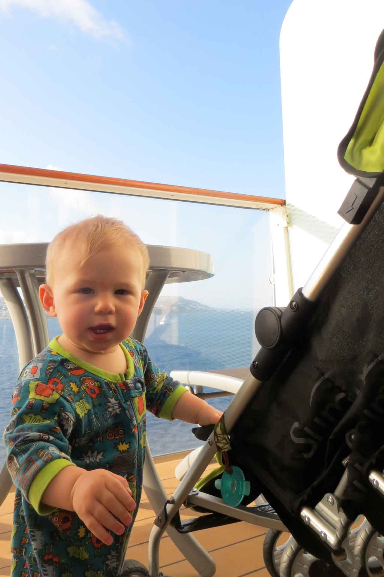 balcony on cruise ship fits stroller