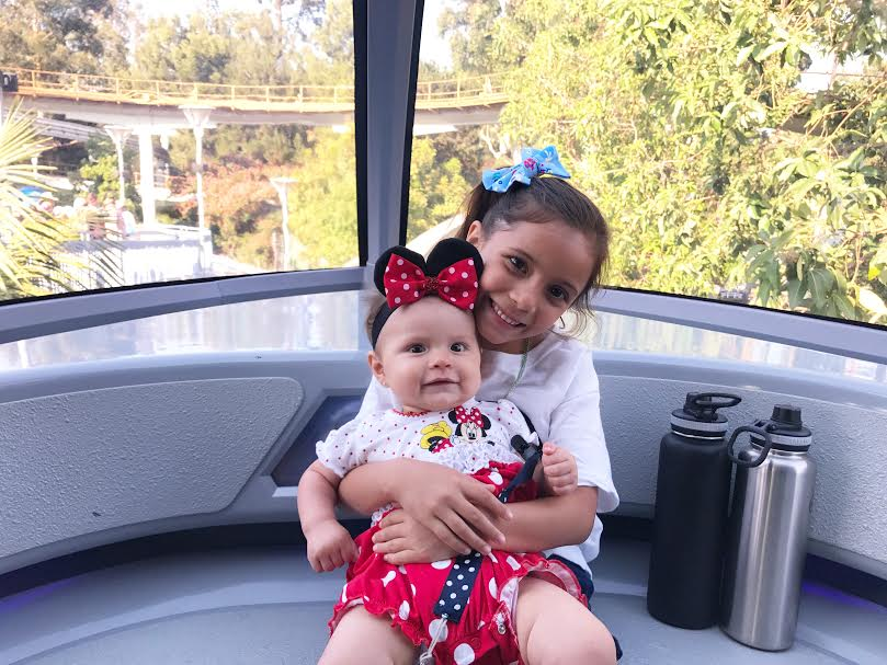 Monorail at Disneyland with a baby