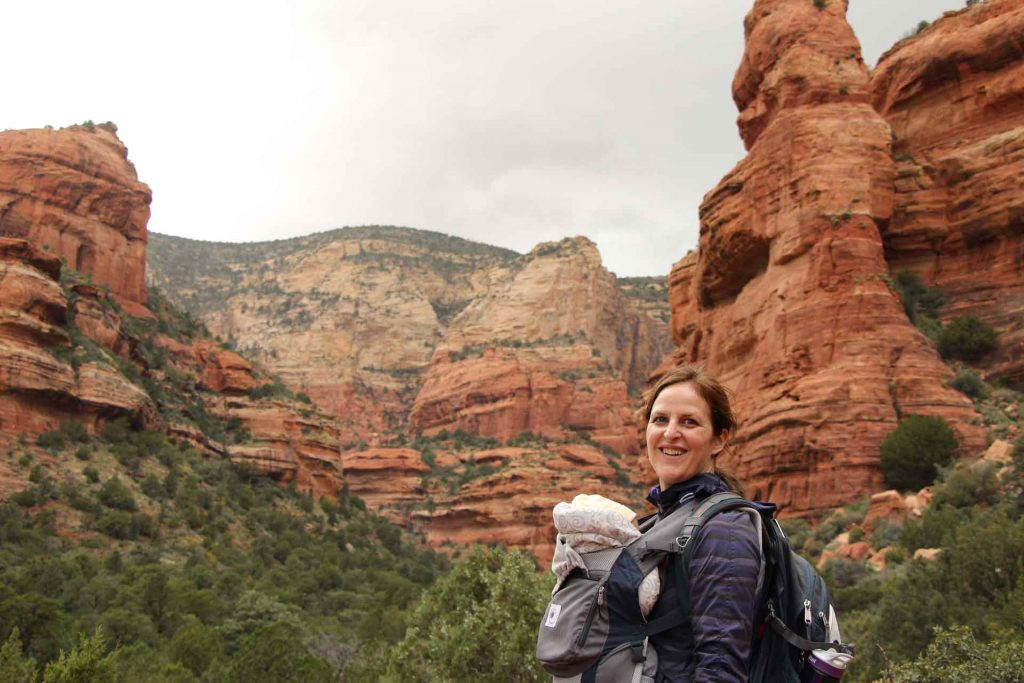 A mother and baby at the Fay Canyon trailhead in Sedona, AZ