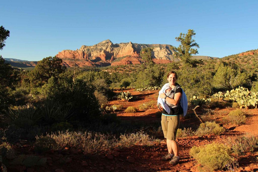 A mother with baby enjoys the Sedona scenery on the Huckaby hike