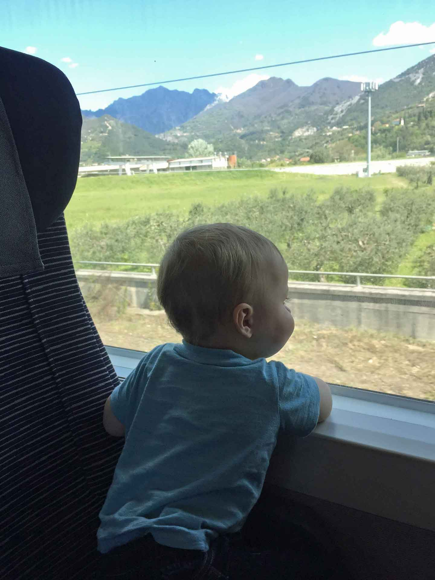 Italy train travel with toddler