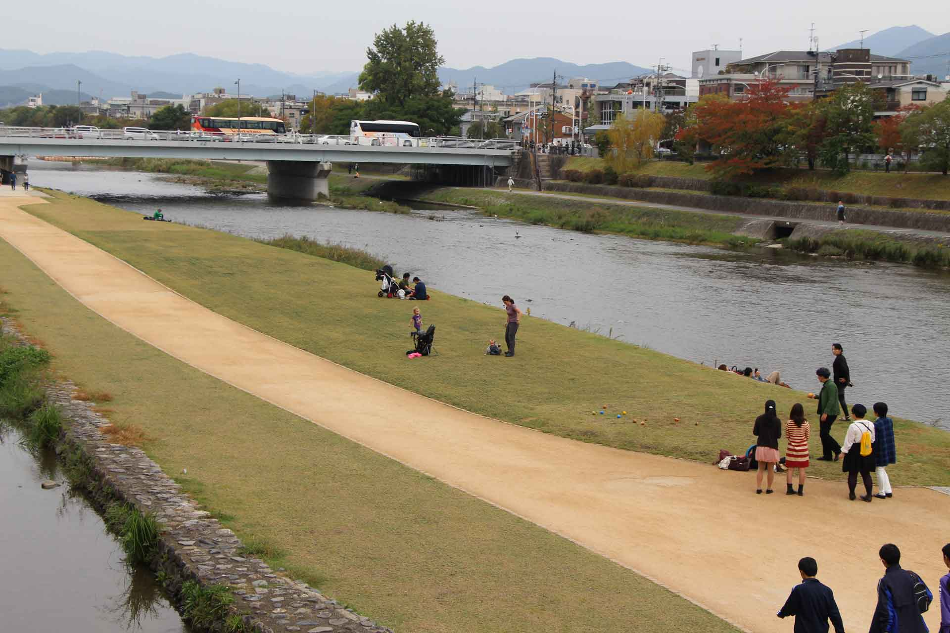 Kamo River Walk in Kyoto Japan