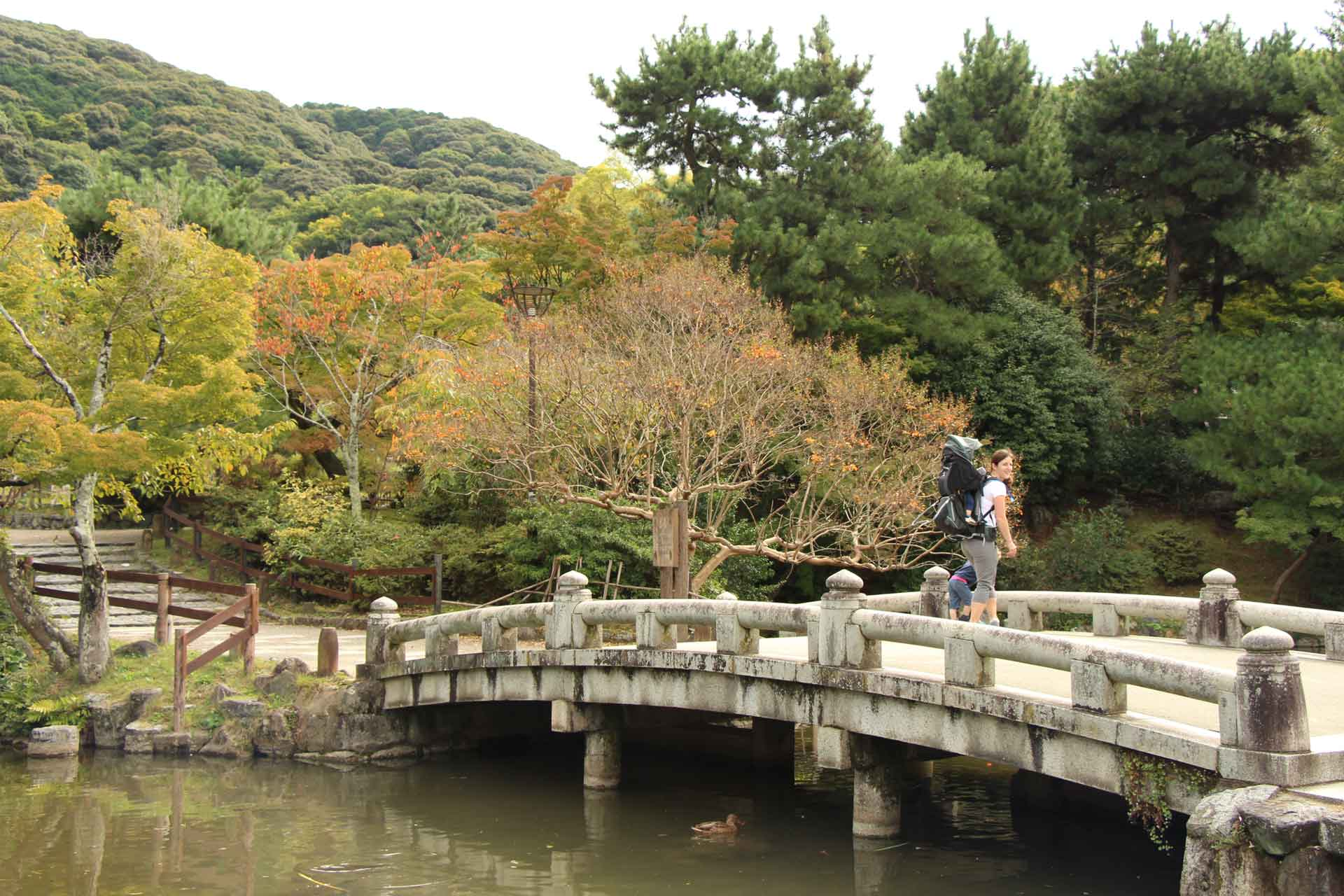 Maruyama Park Kyoto Japan with baby and toddler