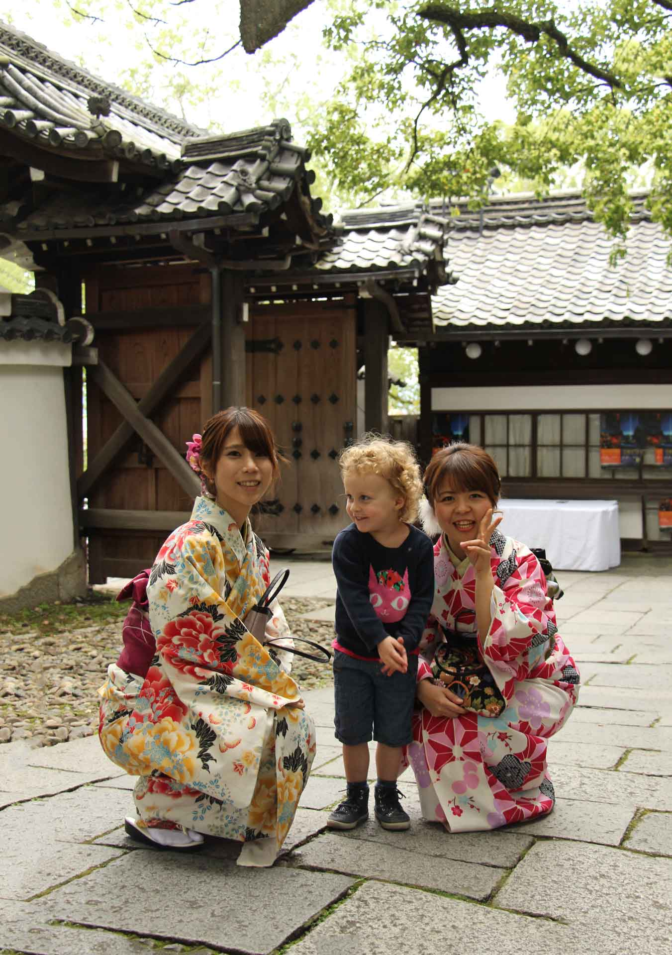Shorenin Temple Kyoto Japan with toddler