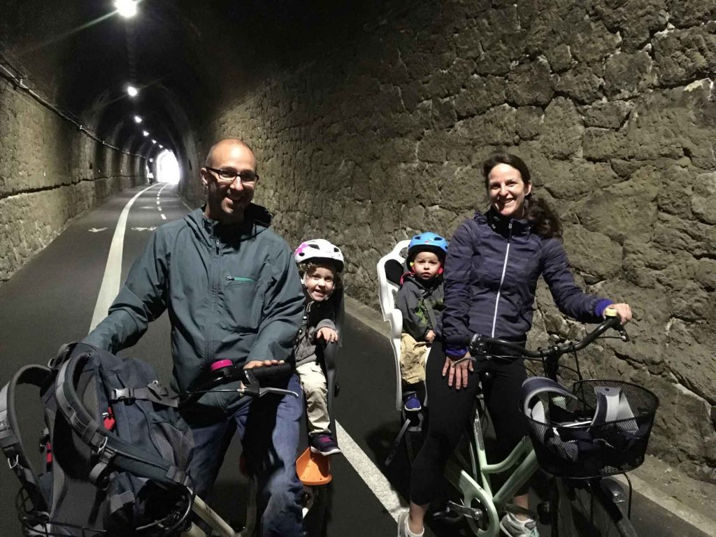 Cycling on a converted railway track from Levanto to Framura was one of our favorite things to do in Cinque Terre with kids toddler