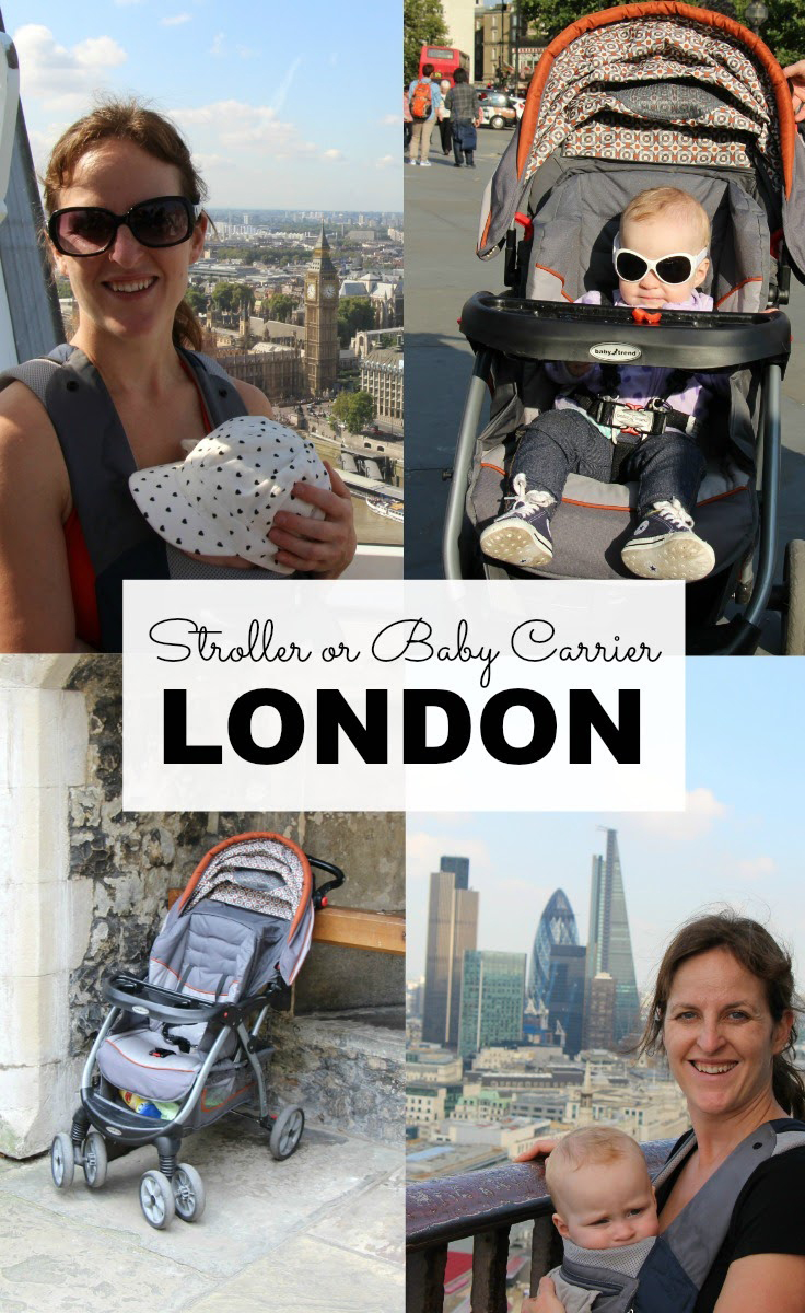Should you use a stroller or baby carrier in London with a baby? Some places are stroller friendly and some are best visited with a baby carrier. #travelwithbaby #babygear #stroller #babycarrier #babywearing #babytravel #toddlertravel #london #unitedkingdom