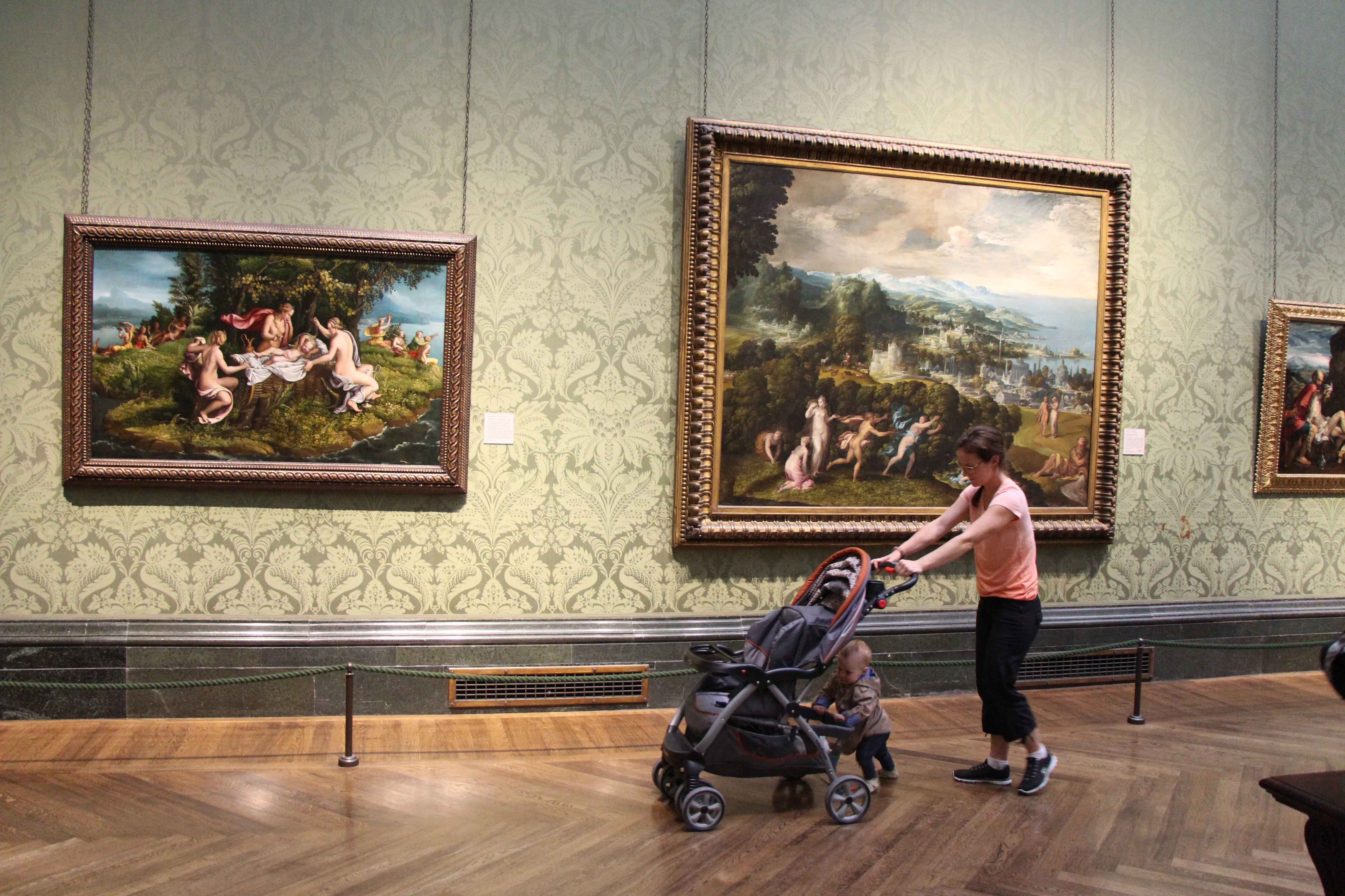 National Gallery in London with a baby