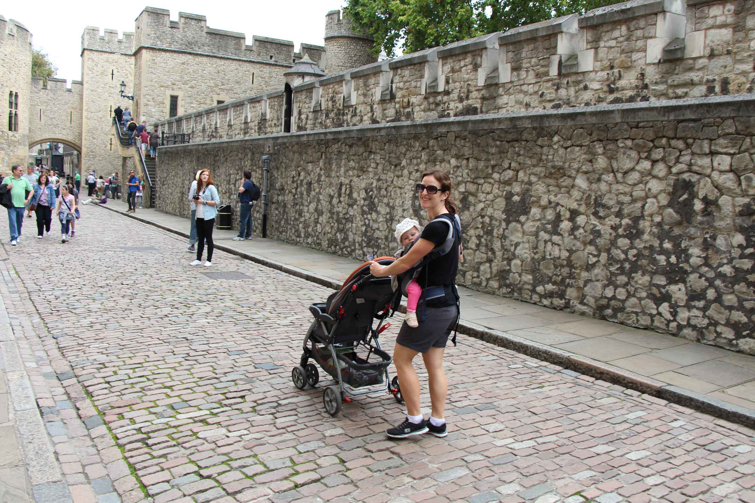 Tower of London with a baby and stroller