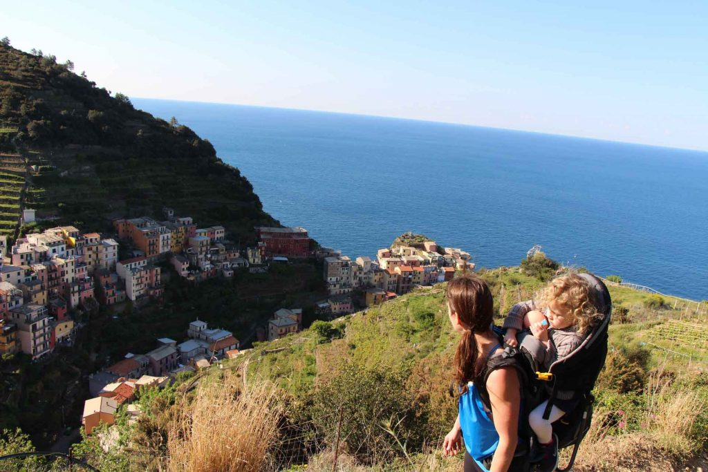 Looking down on Manarola, Cinque Terre with our toddler in a backpack carrier. We do not recommend bringing a stroller to Cinque Terre