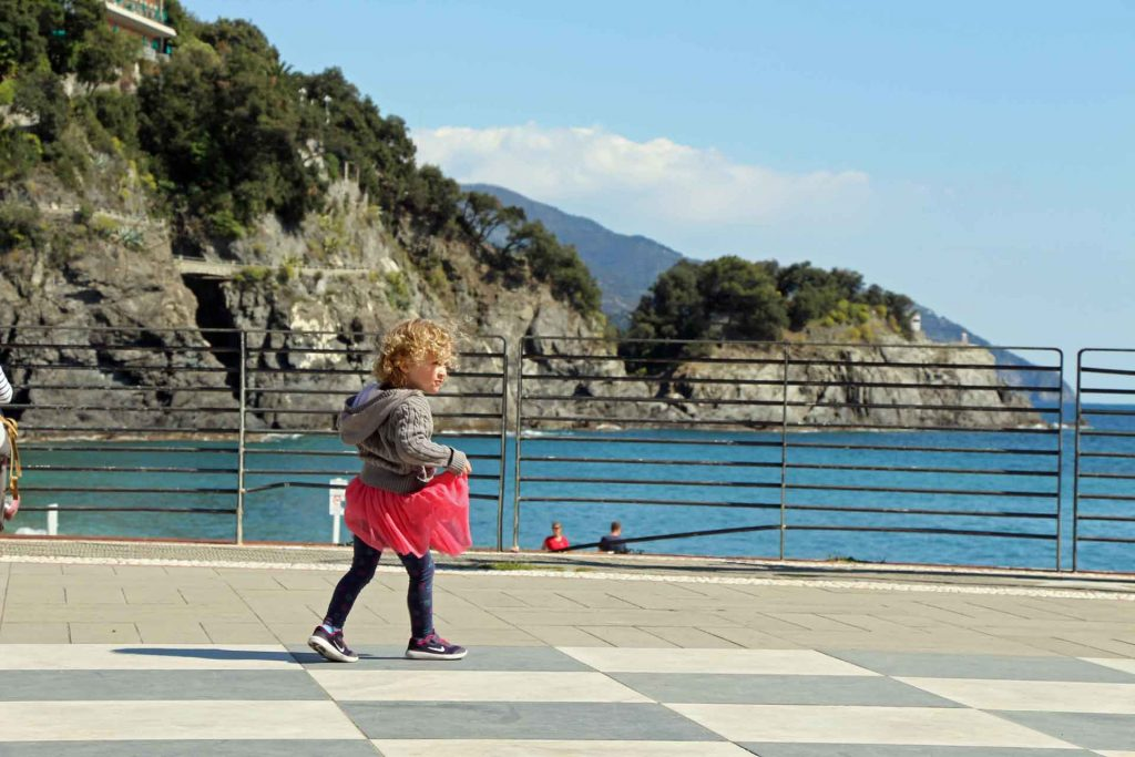 We enjoyed walking near the ocean while visiting Monterosso with a toddler