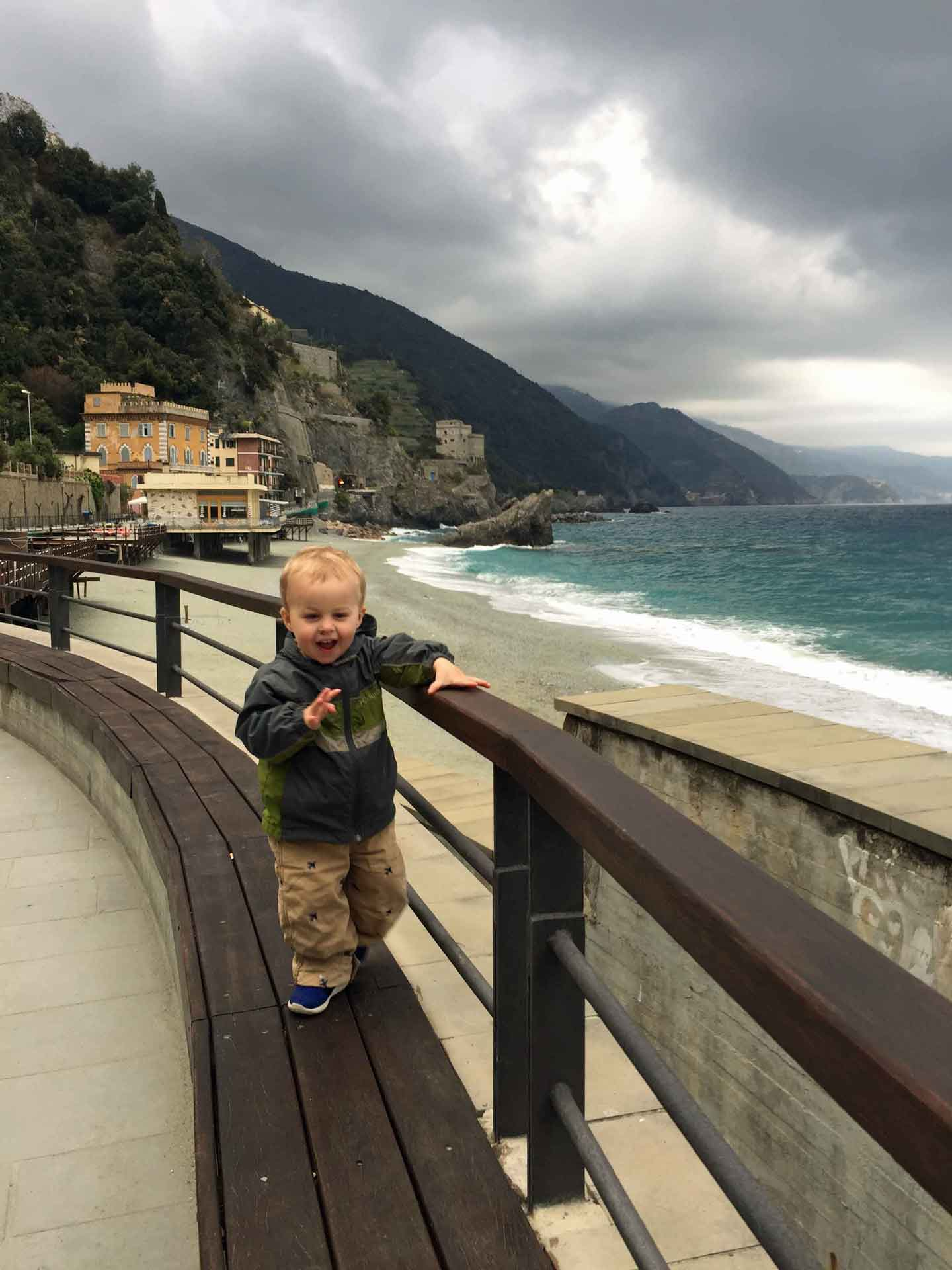 Monterosso Cinque Terre Italy with a toddler