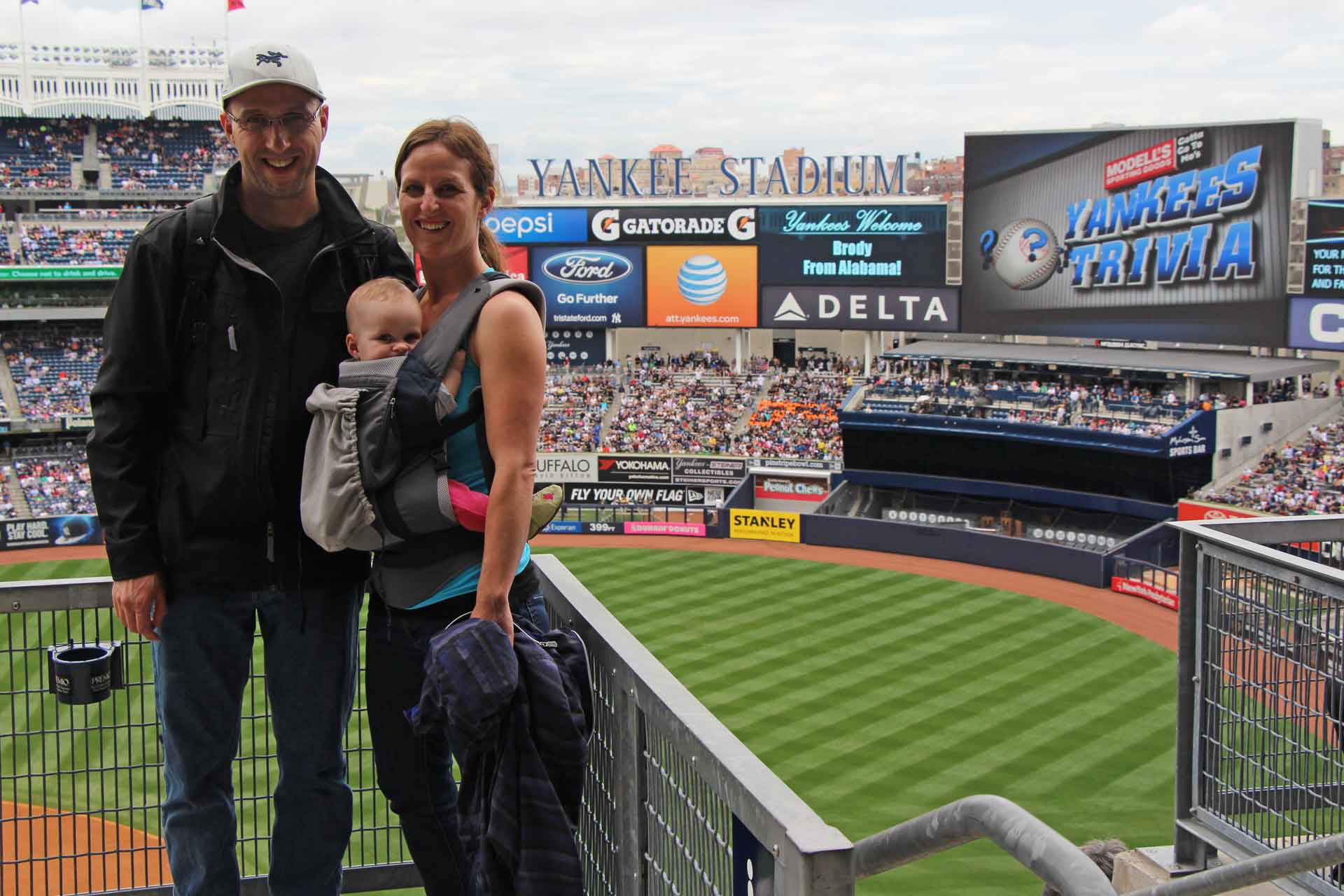 New York Yankees game with a baby
