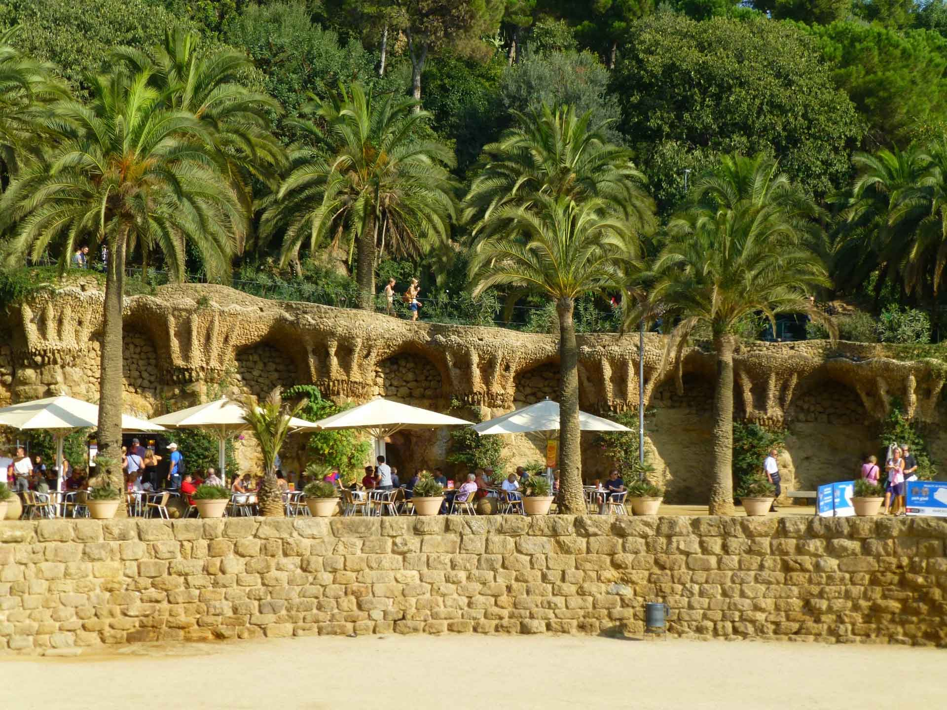 Park Guell with a baby in Barcelona Spain