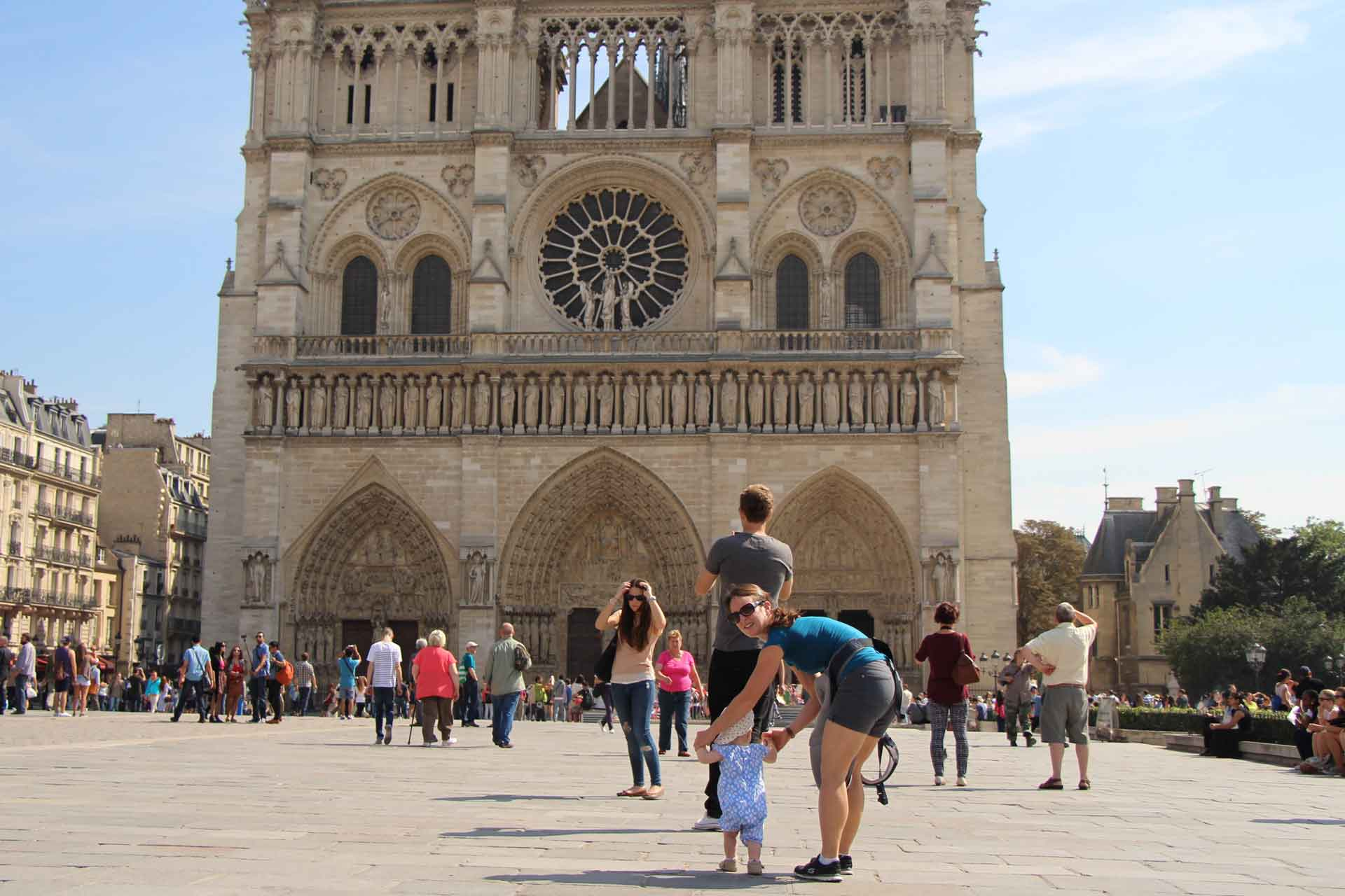 Notre Dame Paris with a toddler
