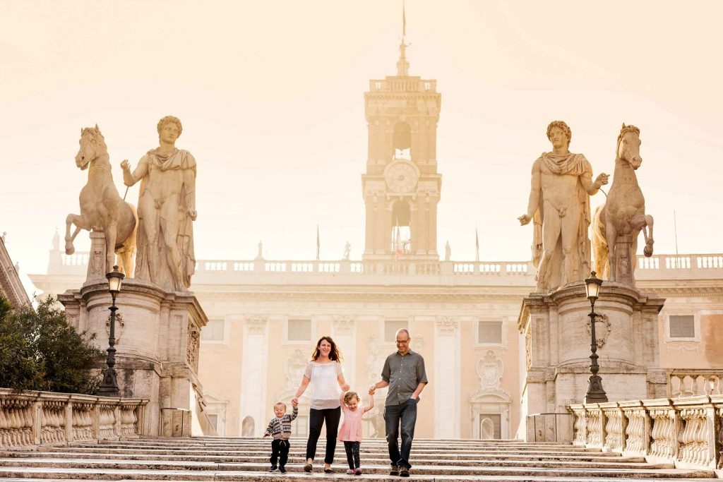 Try getting professional photos while in Rome with a baby and toddler