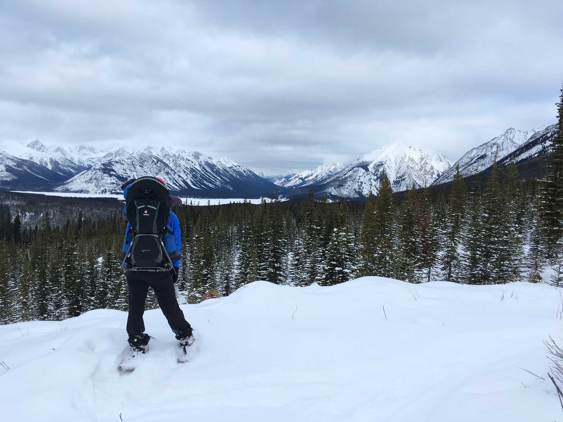 snowshoeing with a baby in a backpack carrier