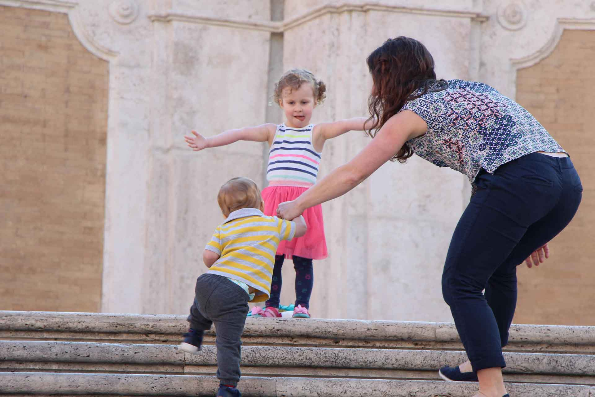 Toddler climbing Spanish Steps