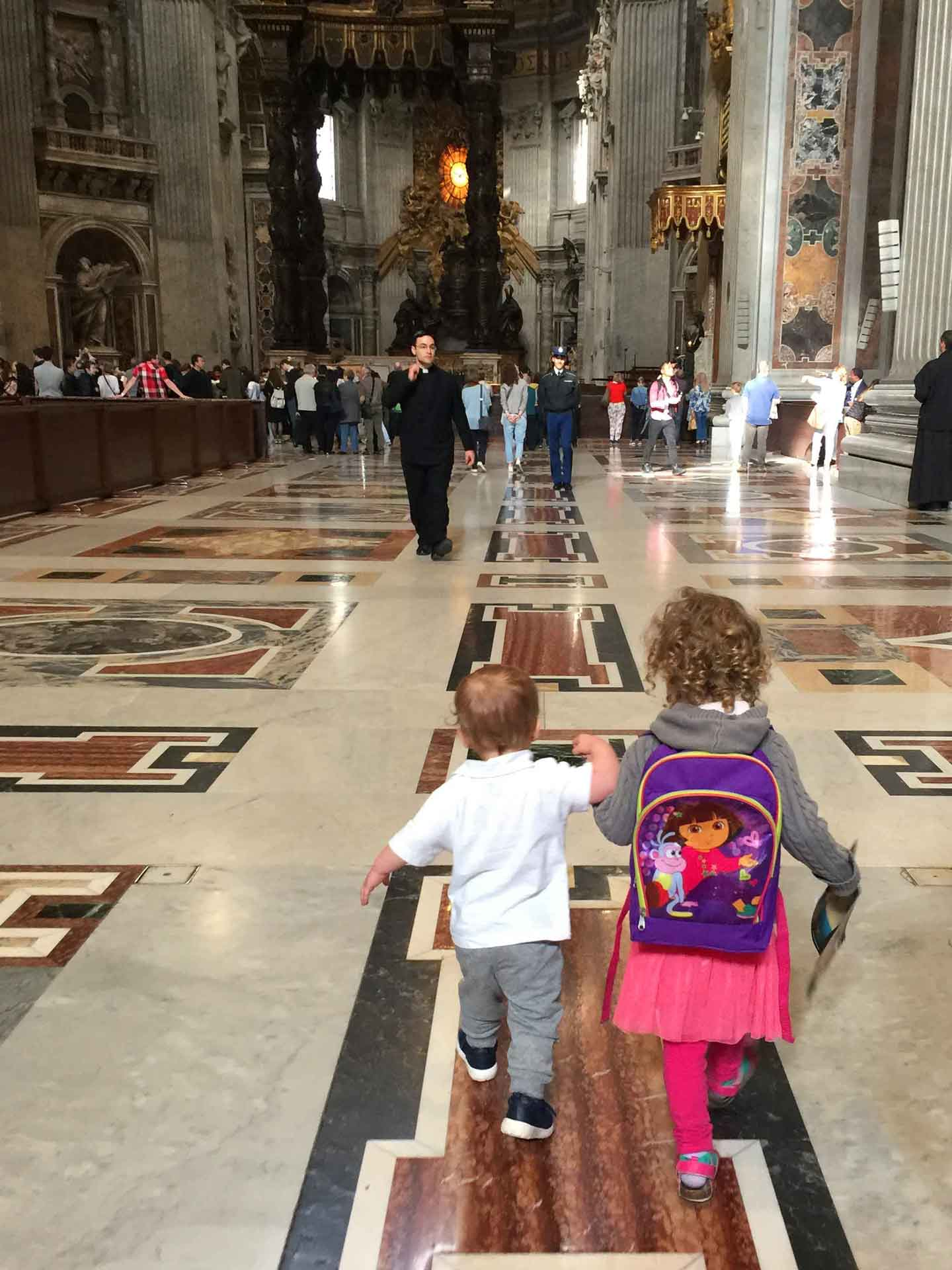 St Peters Basilica in Rome Italy with toddlers