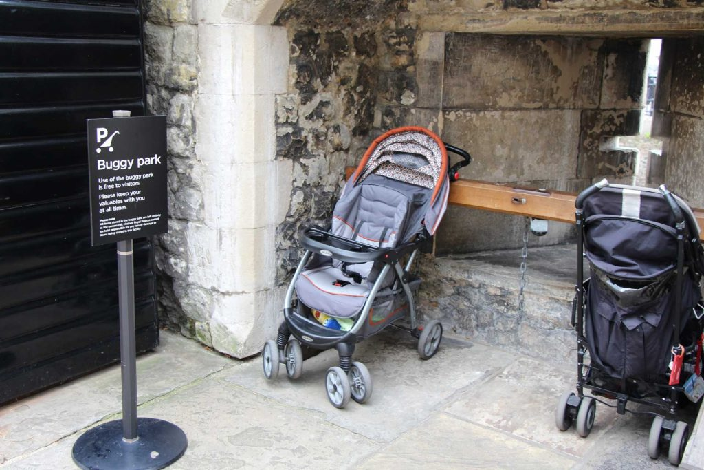 Stroller at Tower of London with a baby