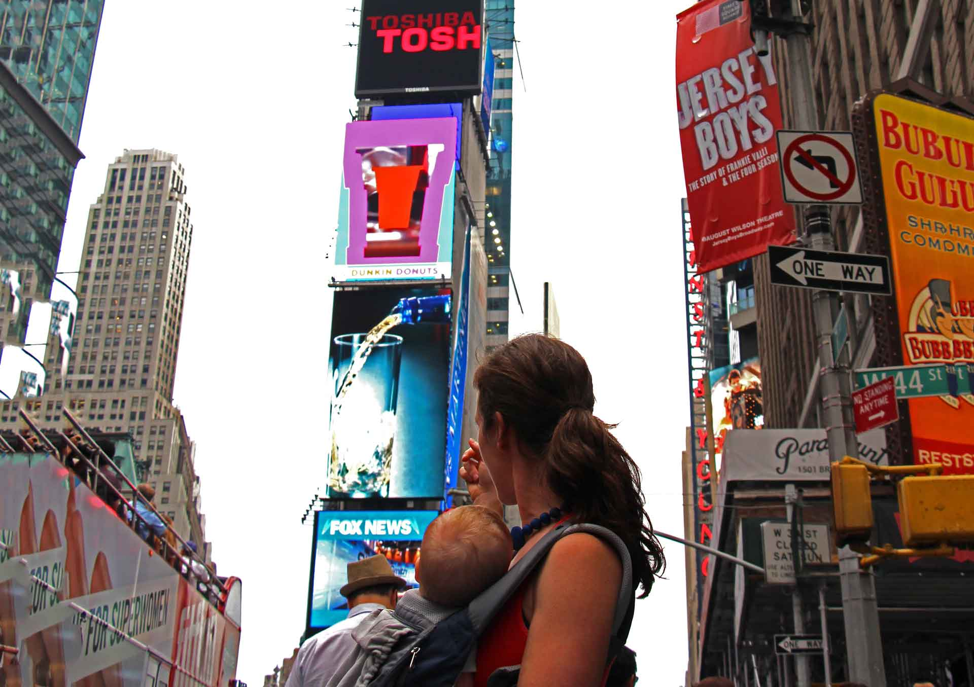 Times Square with a baby
