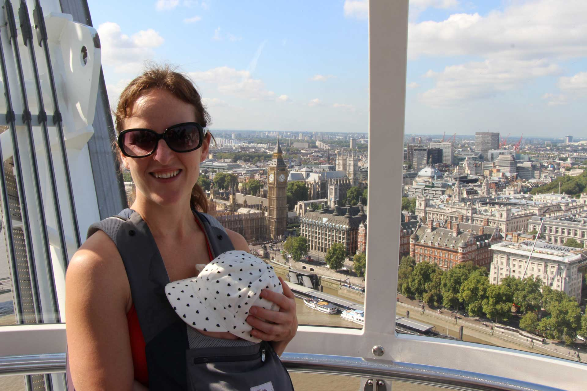 London Eye with a Baby in carrier