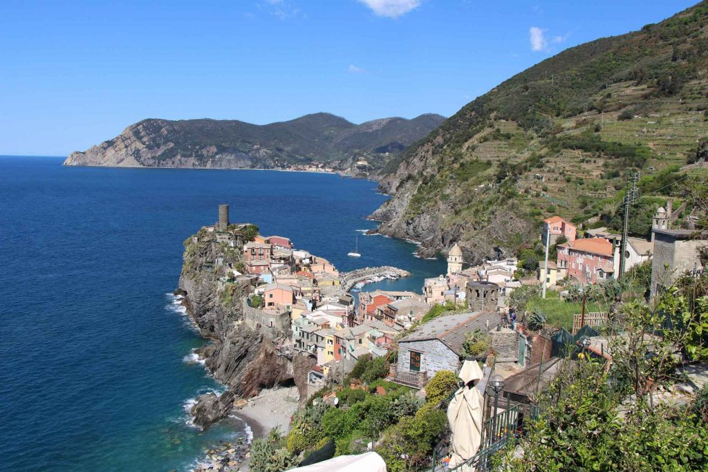 Hiking Cinque Terre with a toddler results in excellent views, such as this one of Vernazza, Cinque Terre Italy