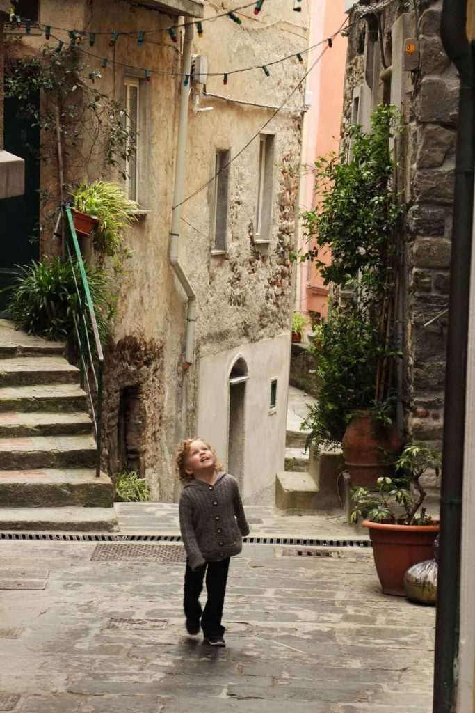 Exploring the streets of Vernazza with a toddler can be a lot of fun if you arrive early, before the crowds arrive